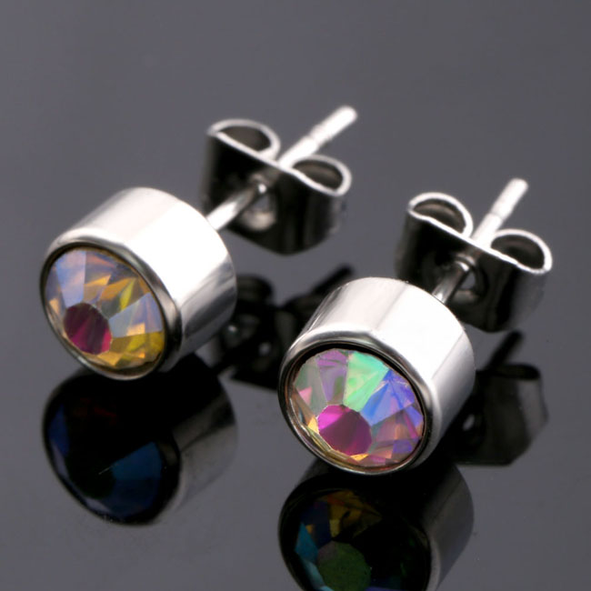 Pair Studex Dazzle Crystal Stainless Steel Stud Earrings 6mm Birthstone Crystal 6mm(China (Mainland))