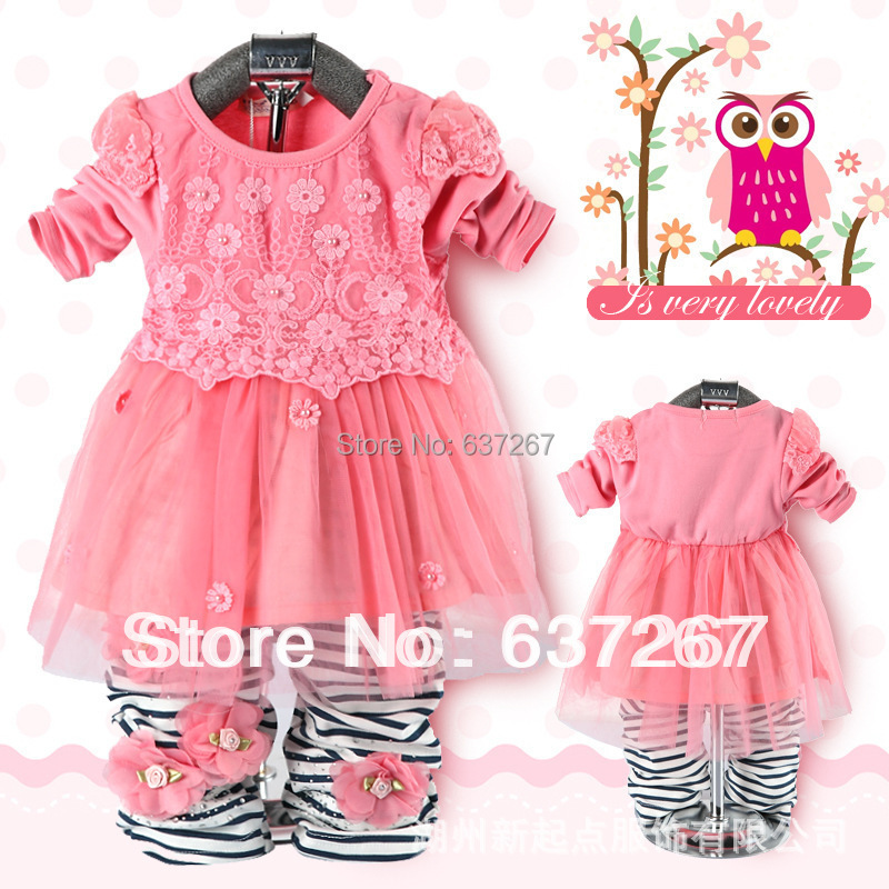 autumn fall winter baby girls kids children pink clothes toddler hoodies clothing peppa pig dress outfits +pants pajama suit - BOBO Co. Ltd store