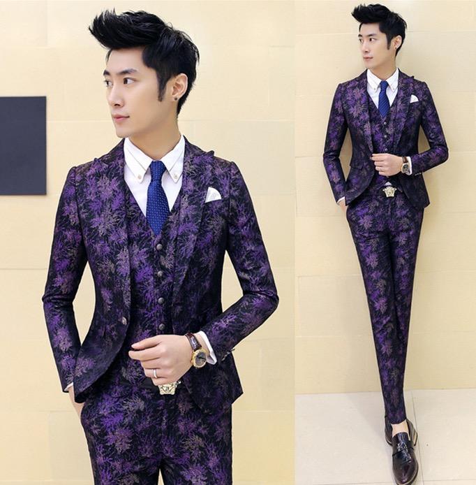 2016 Fashion Vintage Mens Italian Purple Suit Floral Prom Dresses Suits Slim Fit Tuxedo Wedding Blazers For Men Sequin Blazer(China (Mainland))