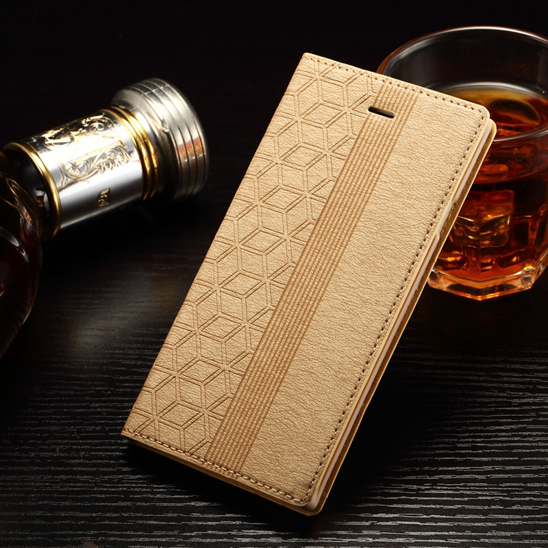 2015 New Luxury PU Leather Case For iPhone 6S Embossed Grid Magnetic TPU Flip Cover for Coque iphone 6 Case Stand Card Holder(China (Mainland))