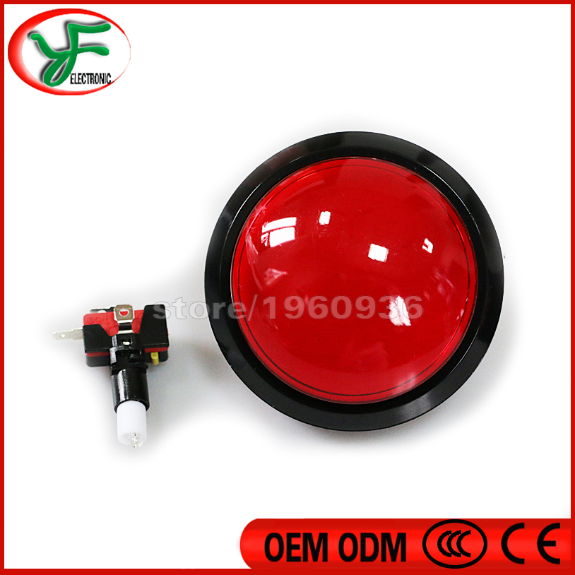 Free shipping 2pcs/lot 100MM 5 Colors LED Light push button Big Round Arcade Video Game Player Push Button microswitch(China (Mainland))