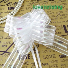 50pcs/lot, 5cm Large Size White Color Organza Pull Bows For Wedding Car Decor Wedding Organza Pull Flower Ribbons Gift Wrap(China (Mainland))