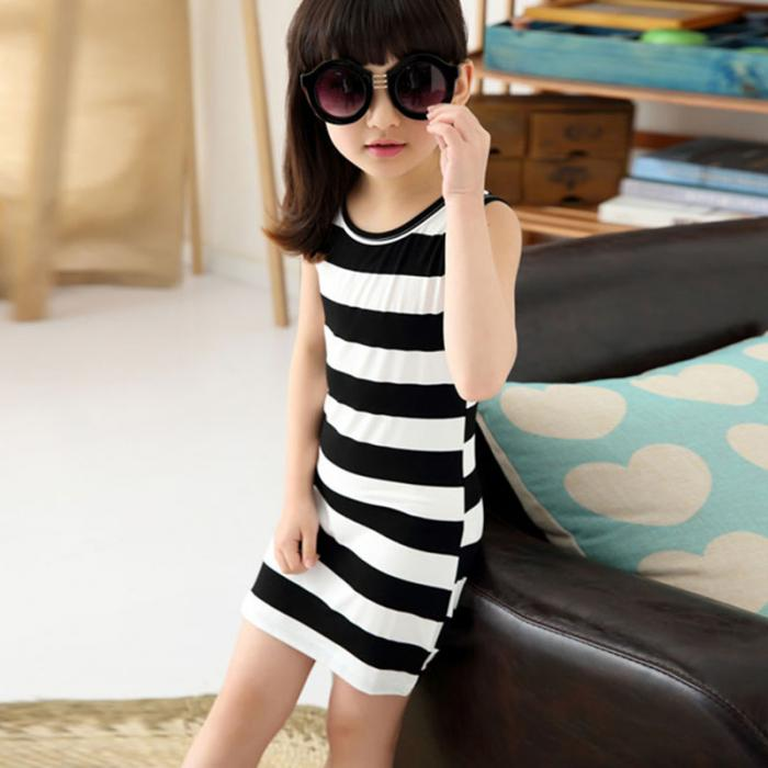 Vest Girls Summer Girls Clothes Fashion Children Clothing Cotton Striped Kids Dress Casual Child Princess Sundress