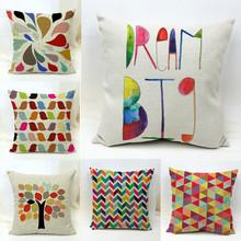 Geometric Tree Birds Cotton Linen Throw Pillowcase Cushion Cover