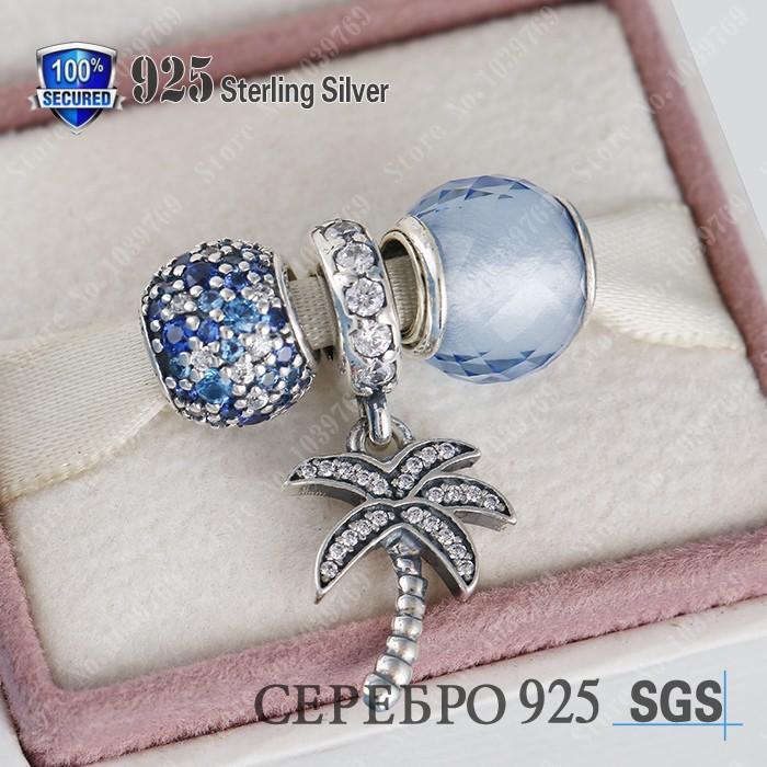 Original 925 Sterling Silver Summer Jewelry Sets-Blue CZ Quartz Faceted/Palm Tree Charm Beads Diy Brand Bracelets Fine