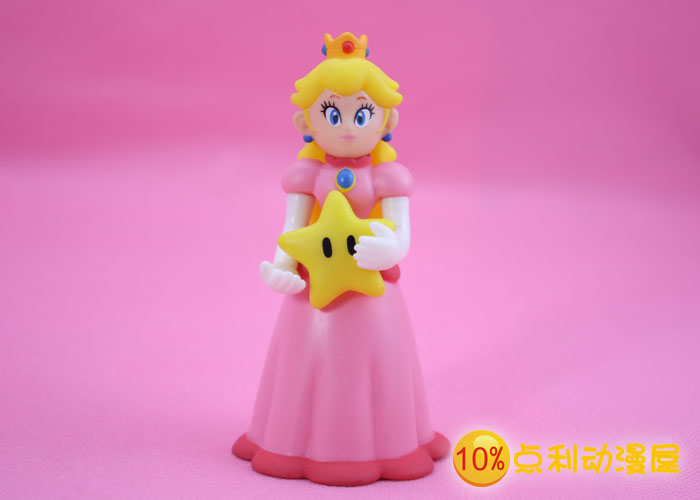"""Free Shipping Super Mario Bros Figures Princess Peach with Star Holding Star PVC Action Figure Model Toy Doll 5"""" 12CM SMFG203(China (Mainland))"""