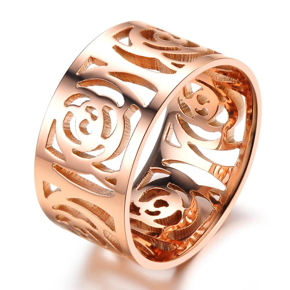 Hot Women Ring Hollow Camellia Flower Rings Rose Gold Plated GJ392X9229 - snow wen's store