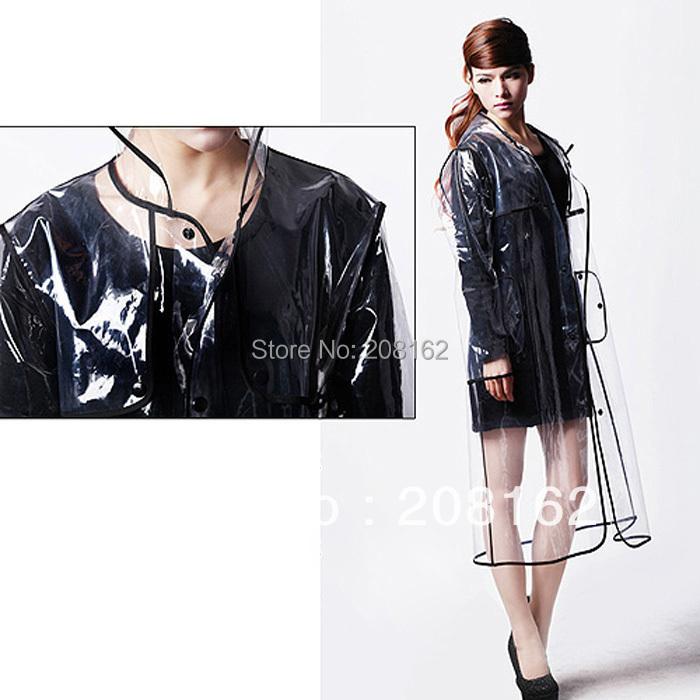 Fashion Transparent Raincoat Personality Poncho Slim Windbreaker Flanger Black Blue Lines Long Section Rain Coat(China (Mainland))