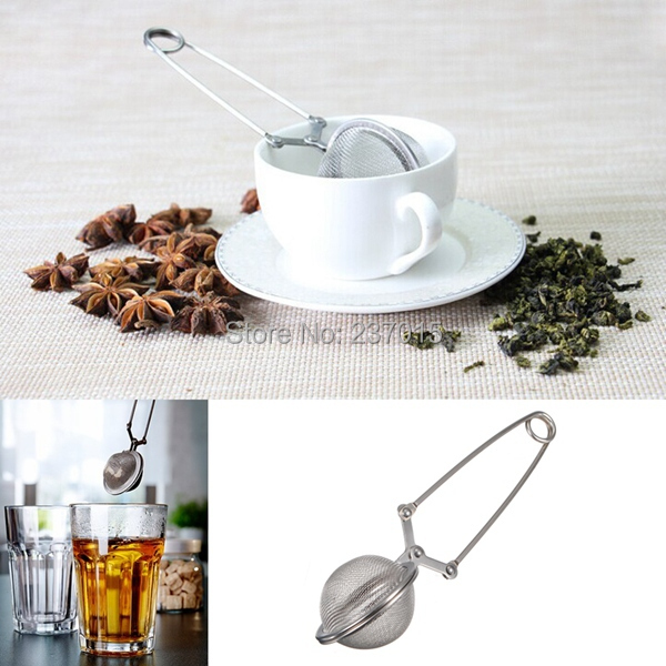 2pcs/set Loose Spring Spoon Tea Mesh Ball Infuser Filter Teaspoon Squeeze Strainer Stainless Steel(China (Mainland))