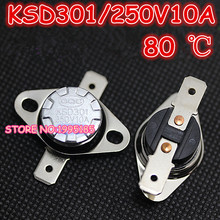 Buy 10Pcs/Lot KSD301 80 Degrees Celsius 80 C Normal Close NC Temperature Controlled Switch Thermostat 250V 10A for $2.66 in AliExpress store
