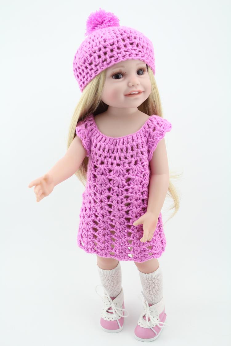 Vinyl Princess 45cm Girl Doll 18 Inch Cute Realistic Baby Birthday Gift Handmade Dress Hat Similar As American Girl Doll