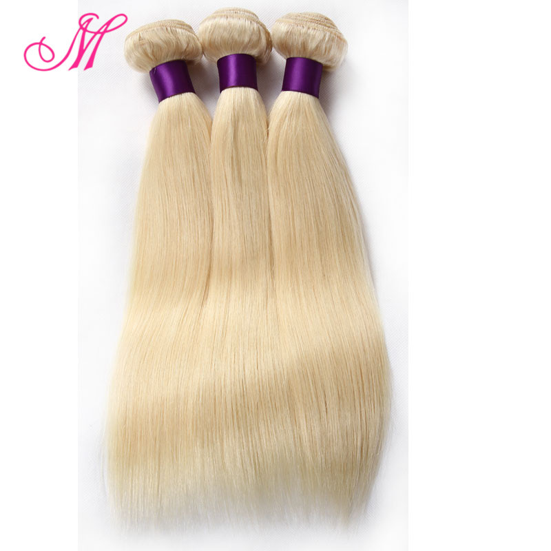 7A Silky Brazilian Straight 613 Blonde Virgin Hair 3 Bundles Soft Honey Blonde Brazilian Hair Weave Brazilian Straight Hair HC