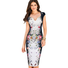 Vfemage Womens Summer Elegant Floral Butterfly Print Charming Pinup Cap Sleeve Casual Party Bodycon Sheath Dress 2556(China (Mainland))