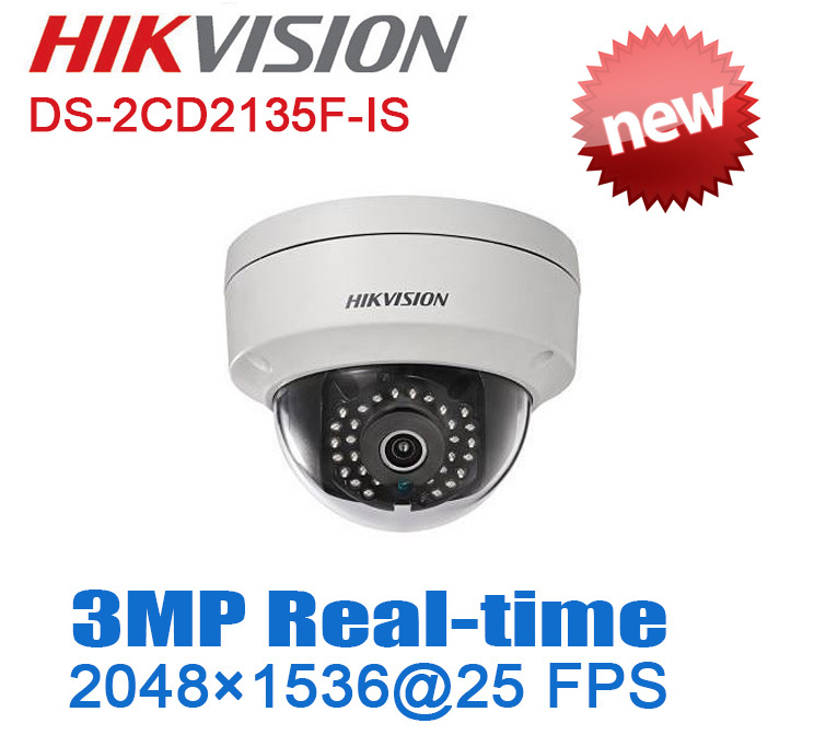 Hikvision H.265 3MP(2048*1536)25fps DS-2CD2135F-IS POE Mini Dome Network IP Camera DWDR Audio TF card slot CCTV Security camera(China (Mainland))