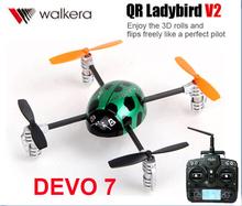Original Walkera QR Ladybird V2 +DEVO 43-Axis-Gyro 2.4GHz with DEVO 7 Transmitter 3D RC Helicopter free shipping