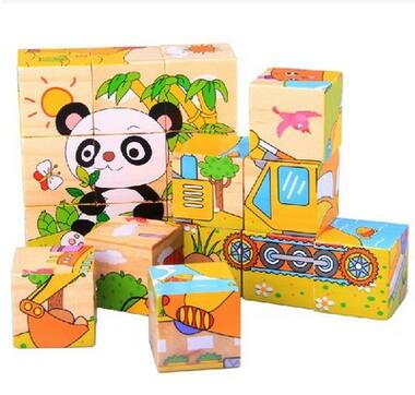 Popular toys Wooden jigsaw puzzle educational toys for children three-dimensional cartoon Six Videos toys free shipping(China (Mainland))