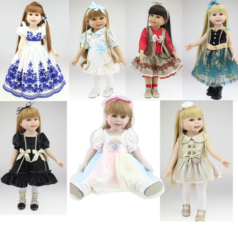 "2015 NEW 25 Models 18"" Blonde/Brown Hair 45cm Girl Doll Realistic Baby Toys Birthday Gift  for Girls  As American Girl Dolls(China (Mainland))"