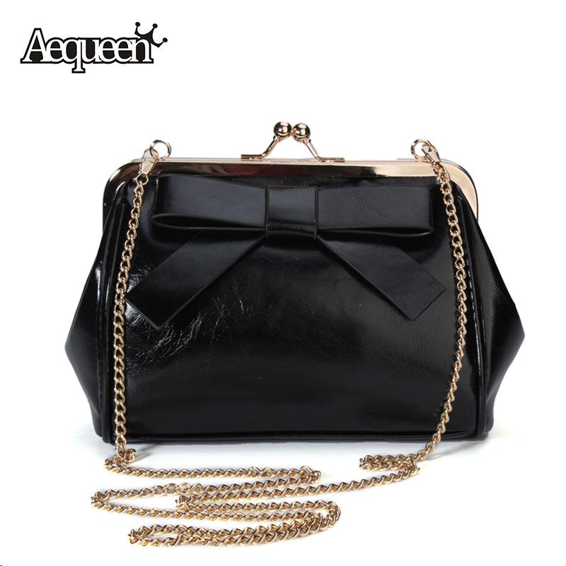 2015 Women Korean Vintage Cute Big Bow Crossbody Chain Shoulder Bag Handbag Candy Color Shopping Tote Diagonal Package Fashion(China (Mainland))
