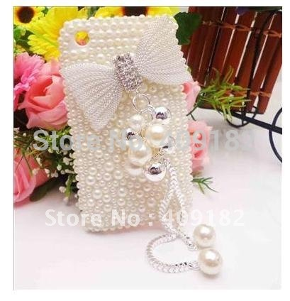 Hot New Crystal Bling Shiny Faux Pearl Pendant Rhinestone Bow Back Case Cover for Apple iPhone 3G/3GS(China (Mainland))
