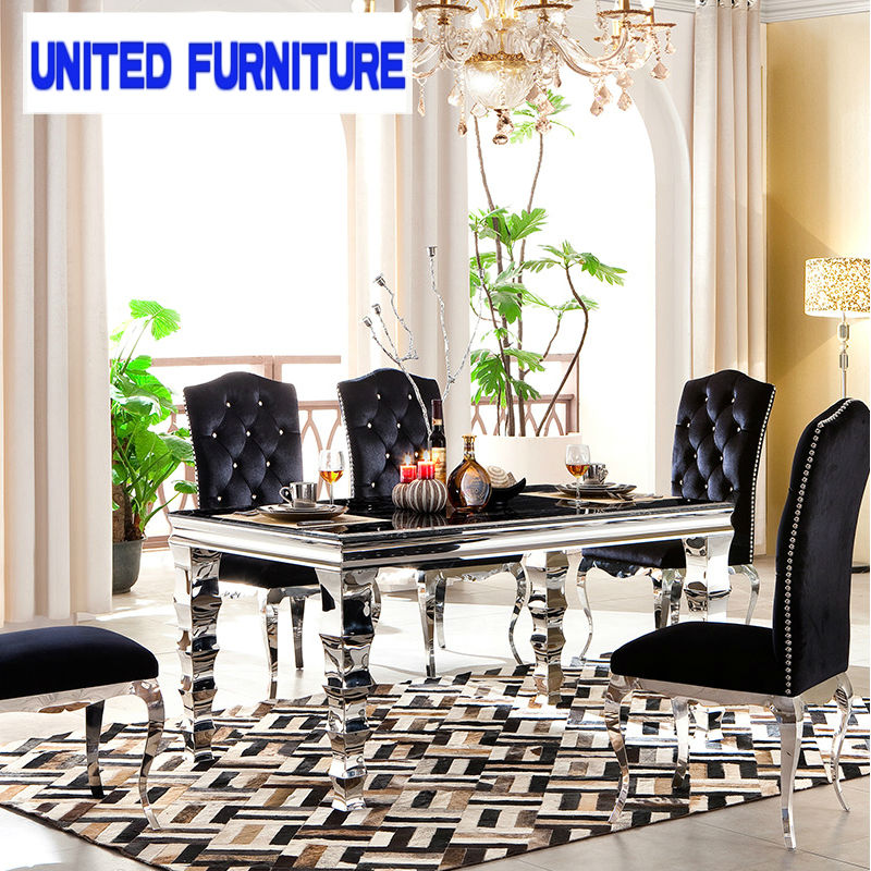Stainless steel Dining Table marble Dining Table new long bamboo Dining Tables(China (Mainland))