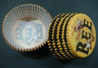 free shipping  wholesales 500pcs cute bee brown/yellow circle wave stripe liners baking paper cup muffin cases for party favor