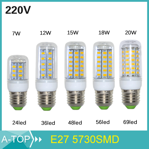 2015 NEW E27 Led Lamps 5730 220V 7W 12W 15W 18W 20W LED Lights Corn Led Bulb Christmas Chandelier Candle Lighting 1PCS/Lot(China (Mainland))