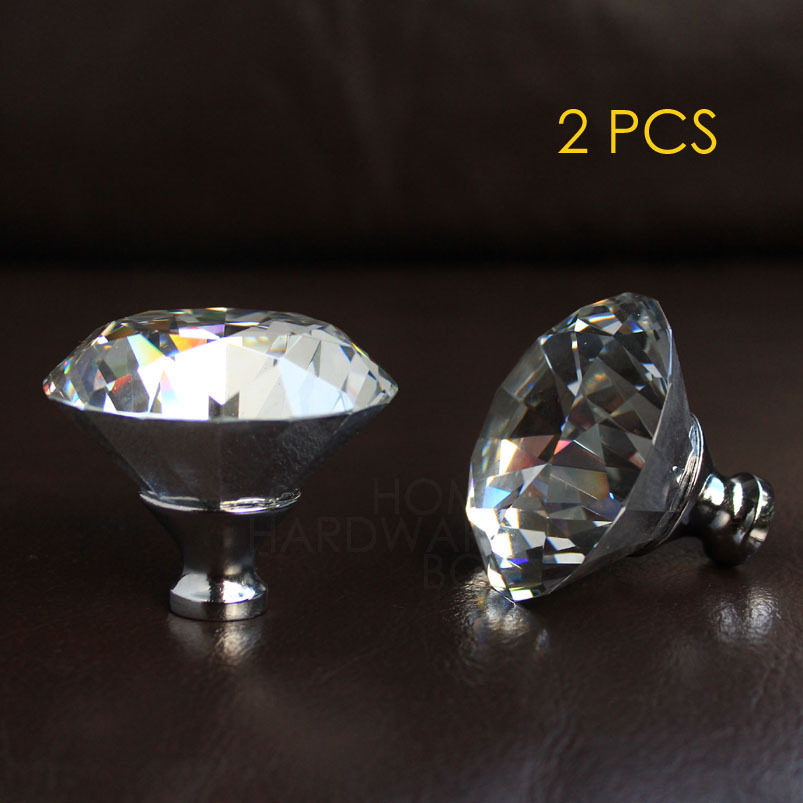 """2 pc crystal drawer knobs 60mm cabinet pull handle glass diamond clear color 2.25""""(China (Mainland))"""