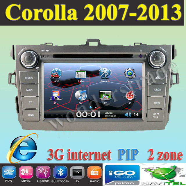 "7"" Car DVD Player With GPS navigation For TOYOTA COROLLA (2007  2008 2009 2010 2011 2012 )+ 3g internet"