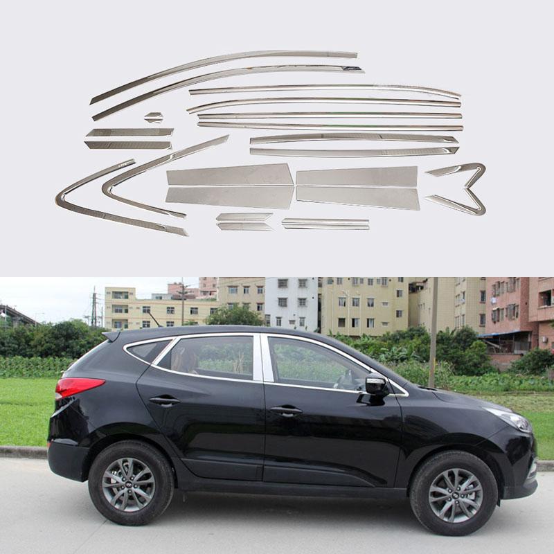 24 Pcs/Set Stainless Steel Full Window With Center Pillar Decoration Trim  Accessories For Hyundai IX35 2013 2014 2015<br><br>Aliexpress