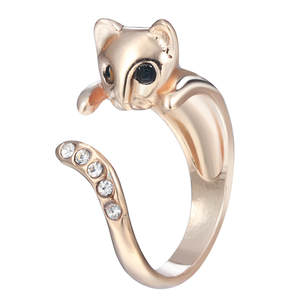 1PC Kitty Cat Ring CZ Crystals Adjustable Free Size Wrap Ring Kitten Gold Silver Chrome Silver Black Gift Idea(China (Mainland))