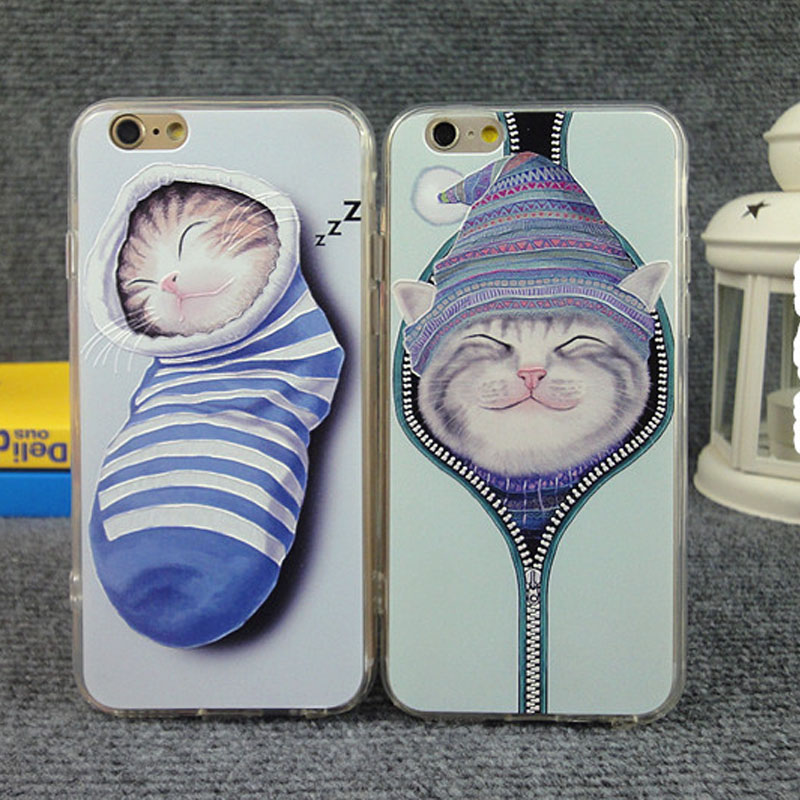 Lovely cartoon cat Back Case Cover For iPhone 6 case Socks cat pattern for iPhone 6 4.7'' Mobile Phone shell CSJK0213(China (Mainland))