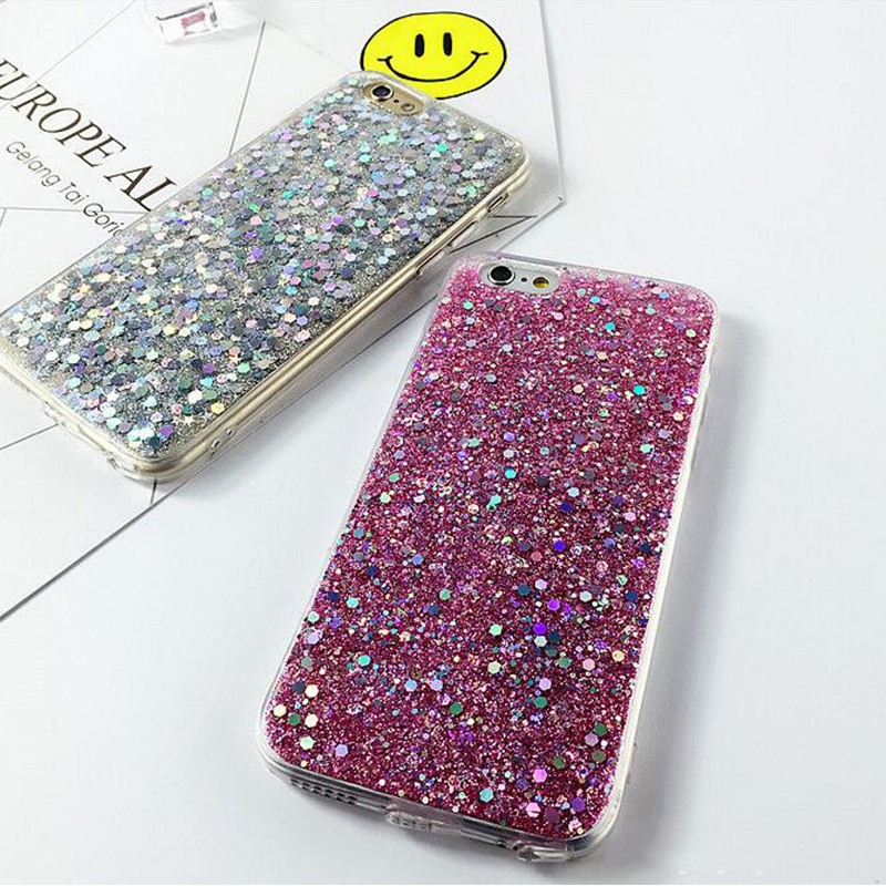 Black Fade to Purple Blue,Silver,Pink Sparkly Bling Bling case cover for Apple iPhone 7 7plus 6 6s 6plus Plusplastic white case(China (Mainland))