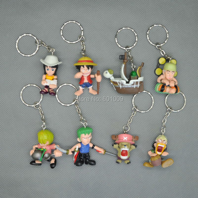 8PCS Japan One Piece PVC Action Figure Keychain Doll Toy Free Shipping(China (Mainland))