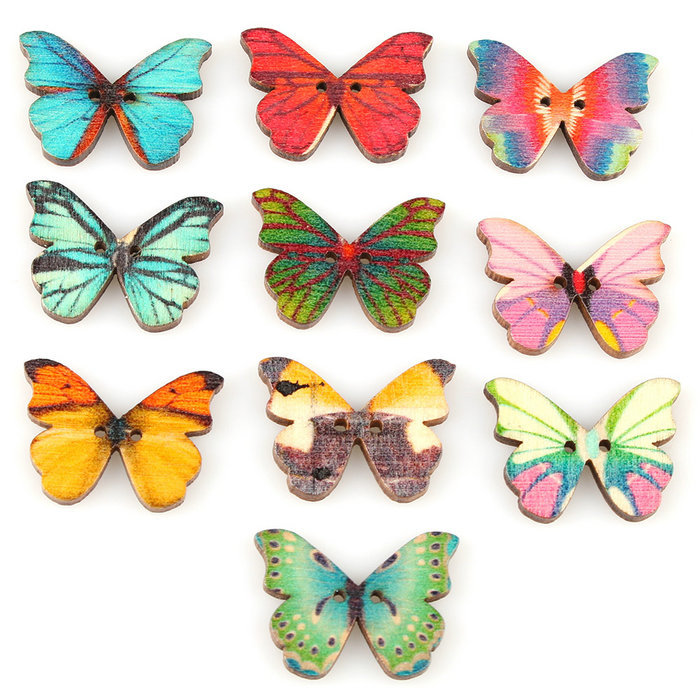 50pcs 2 Holes Mixed Butterfly Shape Wooden Sewing Mend
