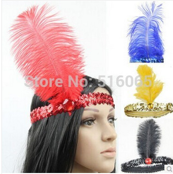 2015 New Fashion Fancy Feather Headband Flapper Sequin Costume Hair Band Dancing Party Hairband wedding headband Free Shipping(China (Mainland))
