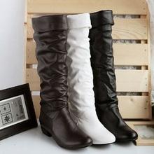 El otoño y el invierno de las mujeres botas de Alto de la pierna de la motocicleta botas de nieve zapatos Negro Blanco Marrón 3 color al por mayor Envío gratuito(China (Mainland))