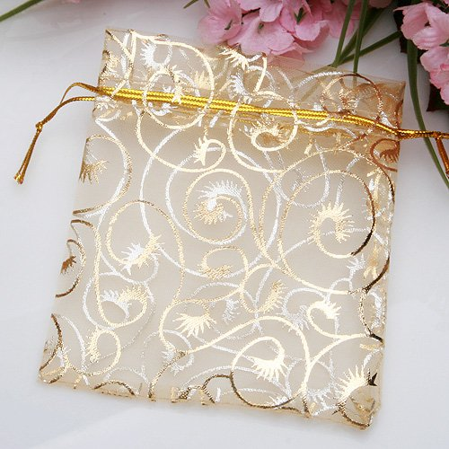 Champagne Organza Drawstring Pouches Gift Jewelry Packing Wedding Bags ...