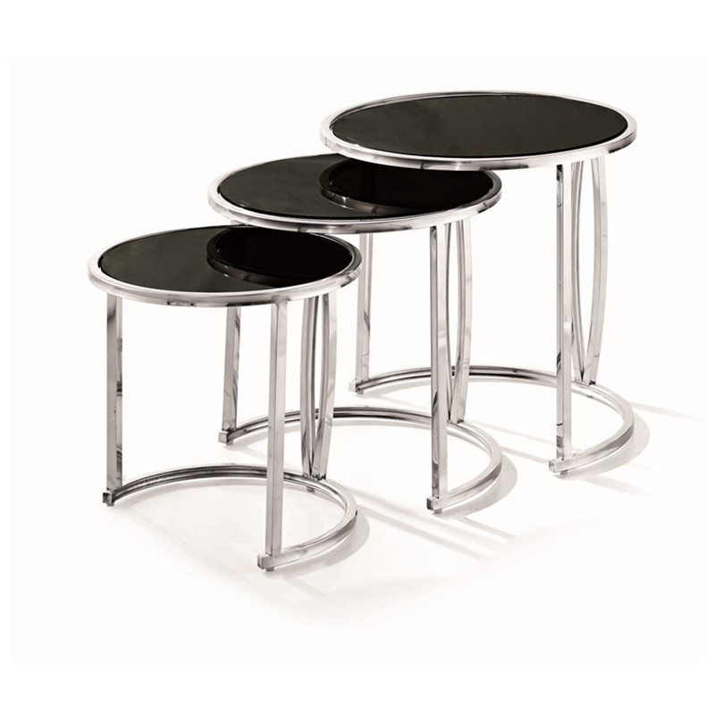 Modern end table,small coffee table, 3pcs is set, stainless steel table send from China(China (Mainland))