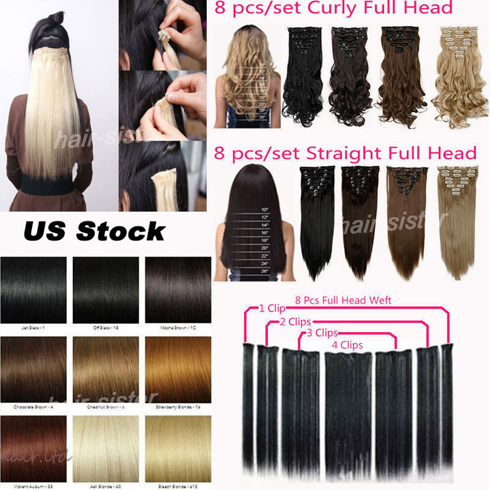 "PREMIUM QUALITY LOCAL WAREHOUSE Full Head Clip in Hair Extensions 8 piece/set Long 17/24"" DIY Salon Finest 18clips ins(China (Mainland))"