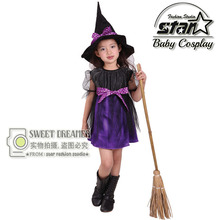 Hot Fancy Masquerade Party Cosplay Dress Witch Clothing Halloween Costume for Kids Girls with Wizard Hat Girl Mini Dresses