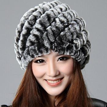 Chopop мех трикотаж настоящее мех кролика рекс шляпа женщины кепка зима Skullies ...