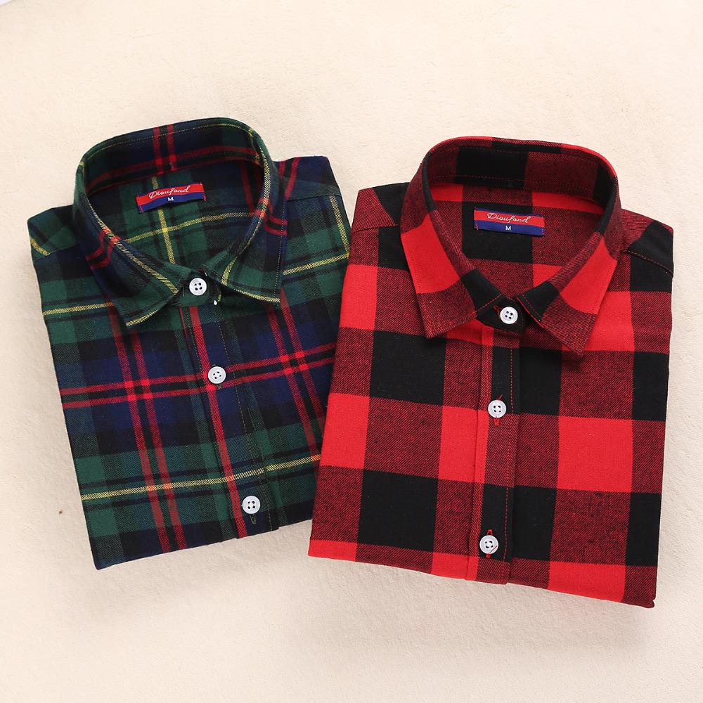 New Womens Flannel Shirt Women Long Sleeve Blouse Winter Flannel font b Plaid b font Shirt