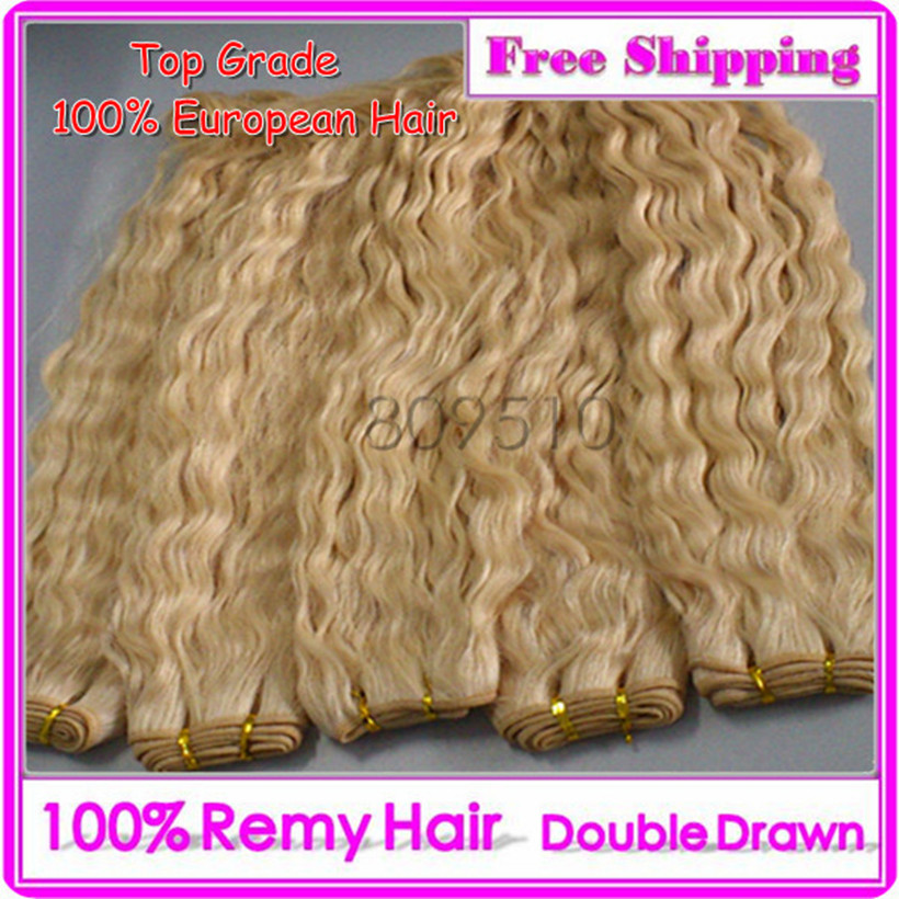 Great Hair 300G/LOT 100% Slavic Double Drawn Hair Weft Color Blonde/613# 20inch Jerry Curly Natural Hair Extension Free Shipping(China (Mainland))