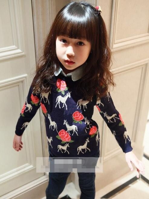 Baby Girl Spring Autumn Girls Sweater   Long Sleeve Blouse Pullover Sweater  4-14Years