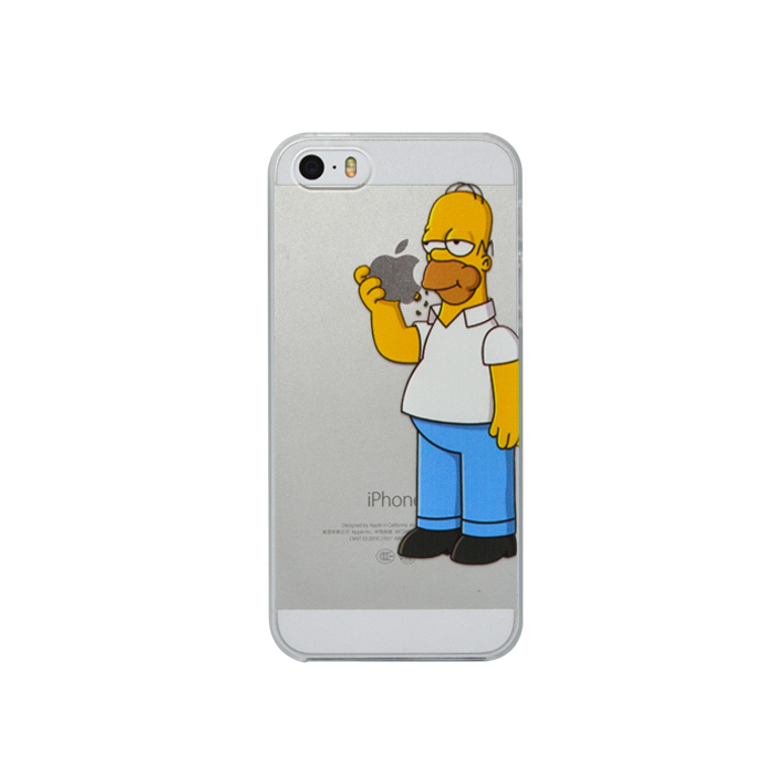 Hot Transparent Homer Eat Logo Semi Clear Hard Cover Simpsons Case for iphone 4 4s 5 5s 5c(China (Mainland))