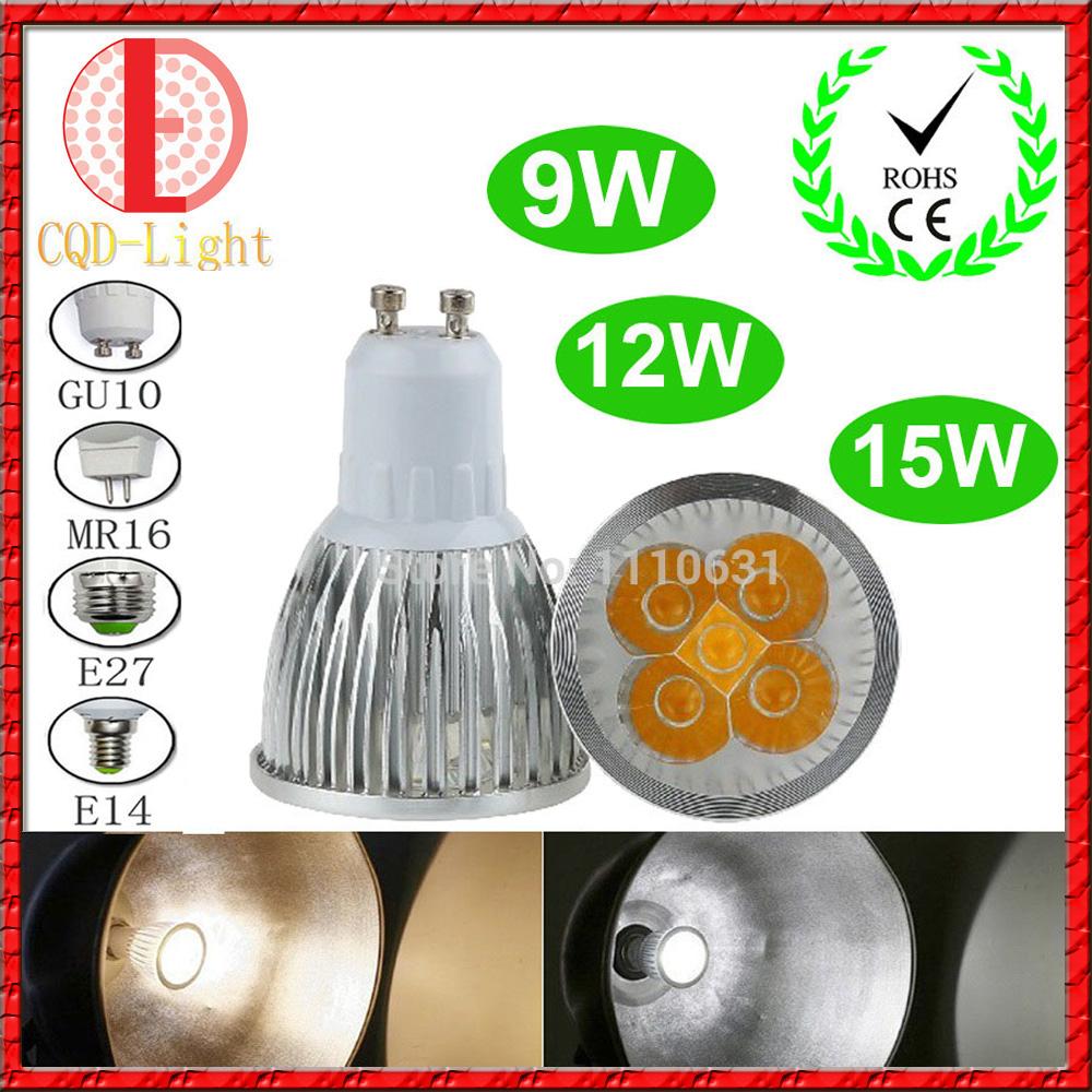 Ultra Bright 9W 12W 15W GU10 MR16 E27 E14 LED Bulb 85-265V Dimmable Led Spotlights Warm/Natural/Cool White LED lamp 110V 220V(China (Mainland))