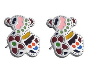 2015 New Fashion Jewelry women Lovely Stainless Steel Stud little bear earring colorful bear earrings te218 free shipping(China (Mainland))