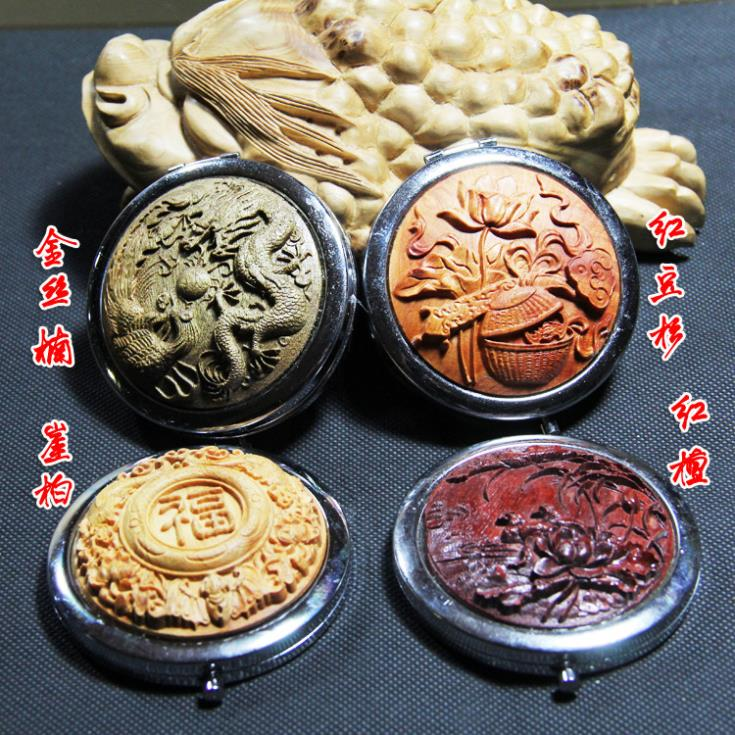 Wooden folding cosmetic mirror embossed round portable Folding wooden mahogany dressing mirror crafts mirror(China (Mainland))