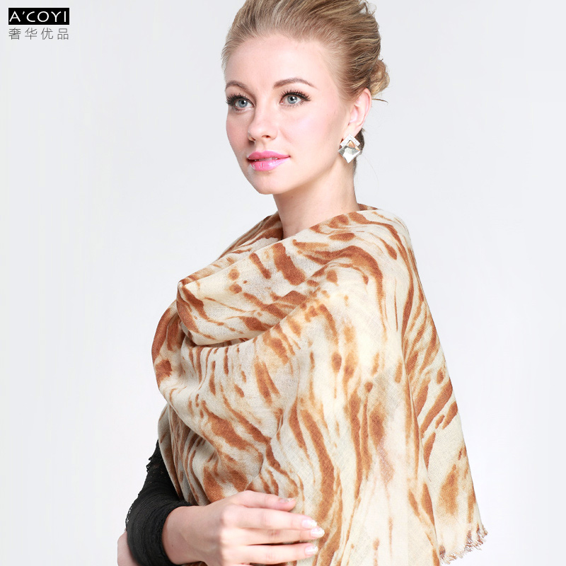 Gift box wool zebra print scarf female version of the autumn and winter thickening all-match cape dual-use ultra long paragraph(China (Mainland))