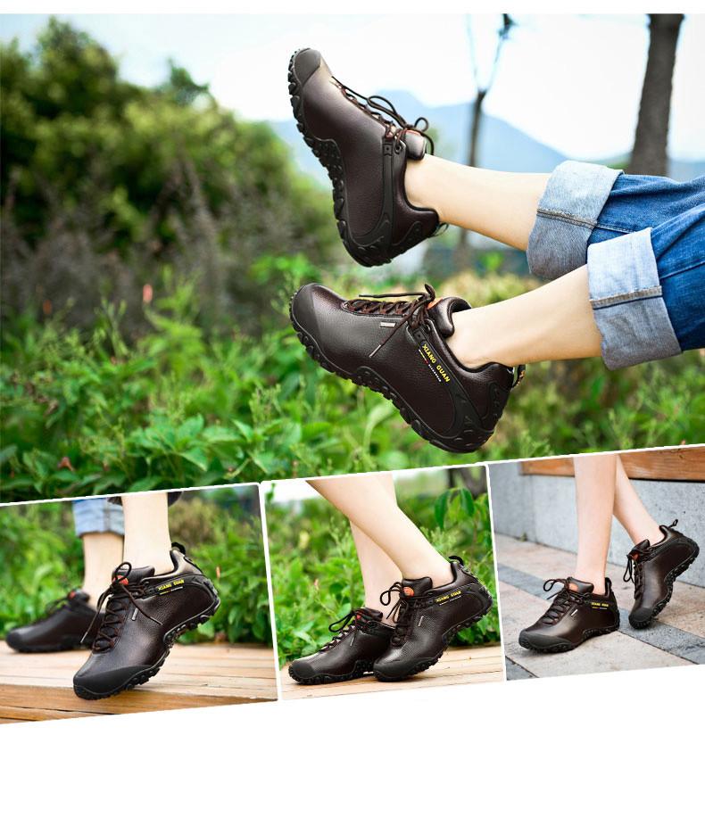 XIANGGUAN Woman Hiking Shoes Women Leather Trekking Boots Coffee Sports Climbing Mountain Shoe Trend Outdoor Walking Sneakers